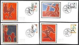 [910910]TB//-Belgique 1977 - N° 1863/66, 5200 HUY, FDC Soie, Sports, Escrime, Athlétisme, Basket-Ball, Hockey (Sur Gazon - 1971-80