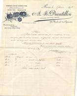 BELLE FACTURE DU 06 JANVIER 1925   M DUCATILLON   BIJOUTIER  JOALLIER  29  BOULEVARD DES CAPUCINES  A PARIS - Invoices
