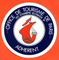 Autocollant D'adherent De L'office De Tourisme De Paris - Galion - Stickers