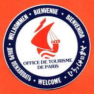 Autocollant Office De Tourisme De Paris - Bienvenue - Galion - Stickers