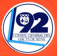 Autocollant 92 Conseil Général Des Hauts De Seine - Stickers
