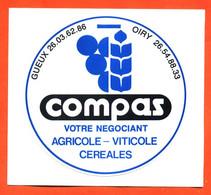 Autocollant Compas Négociant Agricole Viticole Céréales à Gueux Et Oiry - Marne - Stickers