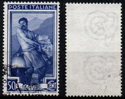 Italia Al Lavoro 50 Cent. Filigrana Ruota 3 Destra Bassa - 1946-60: Used