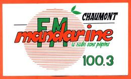 Autocollant FM Mandarine La Radio Sans Pépins 100.3 à Chaumont - 168mmx100mm - Stickers