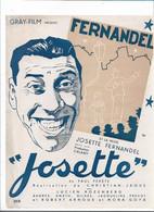 "Synopsis Affichette FERNANDEL ""Josette"" GRAY FILM Présente...27 / 21 Cm - Cinema Advertisement"