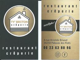 Carte De Visite - Restaurant Crêperie - TY'BRETON - 34250 Palavas Les Flots - Other