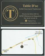 Carte De Visite - Restaurant - Table D'oc - 34750 Villeneuve Les Maguelone - Other