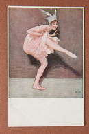 Antique Postcard 1915s. Ballerina In Dance Pose. Glamor Sexy Dance. Style French Cancan. Artist Signed Wennerberg (B.W.) - Baile