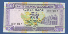 MACAO - MACAU - P.66 – 20 Patacas 01.09.1996 AU -central Fold- Serie DE 003397 - Macau