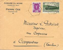 France. Congrès Des Chemins De Fer Sur Lettre De Chusclan (Gard) 1937 Vers Carpentras (Vaucluse) - Trenes