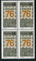 POLAND 1976 INTERPHIL Stamp Exhibition Block Of 4 MNH / **.  Michel 2444 - Unused Stamps