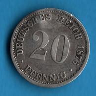 DEUTSCHES REICH   20 PFENNIG 1876 D  KM# 5 Wilhelm I - 20 Pfennig