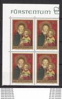 LIECHTENSTEIN VB Viererblock Eckrand ** 595 Weihnachten - Madonna Bartolomeo Di Tommaso Da Foligno  (Scan)(5883A) - Unused Stamps