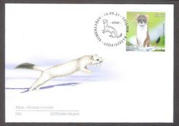 Estonian Fauna – The Stoat Estonia 2021  Stamp FDC Mi 1020 - Otros