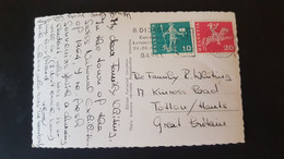 Lausanne - Sent To Totton England - Used Stamps