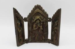 594 - Triptyque Bronze - Marie/Enfant Jésus - Personnage Royal - Sainte En Prière - Bronzi