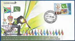 PAKISTAN MNH 2021 PRIVATE SOUVENIR COVER PAKISTAN CRICKET MATCH TEST MATCH FLAG 26 JAN 2021 - Pakistan
