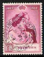 Mauritius 1948 KG6 Royal Silver Wedding 10r Magenta Fine Used With Cds Cancel SG 271 - Mauritius (...-1967)