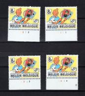 BELGIQUE BELGIE  TINTIN KUIFJE 1944 XX MNH  NUMEROS PLANCHE 1 2 3 4   Serie  Complete - 1971-1980