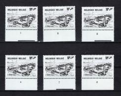 BELGIQUE BELGIE  1946 XX MNH  NUMEROS PLANCHE 1 2 3 4 5 6  Serie  Complete - 1971-1980