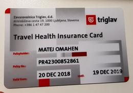 SLOVENIA  ID Travel Health Insurance Card 2018/2019 Zavarovalnica Triglav - Other