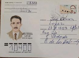 O) 1953 CUBA, CARIBBEAN, JOSE MARTI, JOSE FRANCISCO COSTA VELAZQUEZ MARTIR DEL MONCADA, CIRCULATED AEROGRAM - Covers & Documents