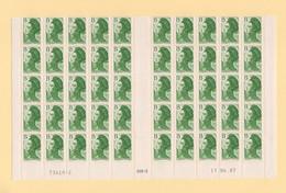 Liberte De Gandon - B -n°2483  Bloc De 50 Bas De Feuille Coin Daté 17-6-1987 - 1982-90 Liberté De Gandon