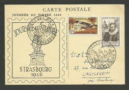 1946 - STRASBOURG Vignette & Cachet Journées De L'air / Carte Locale Journée Du Timbre Fouquet De La Varane - Aviation
