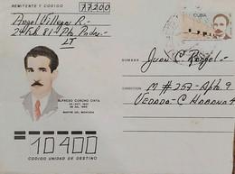 O)1953 CUBA, CARIBBEAN,ALFREDO CORCHO CINTA, MARTIR DEL MONCADA, JOSE MARTI, AEROGRAM CIRCULATED, XF - Covers & Documents