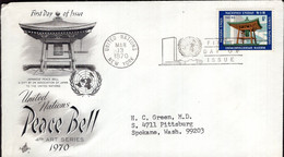 United Nations - 1970 - Lettre - FDC - Peace Bell - A1RR2 - Briefe U. Dokumente