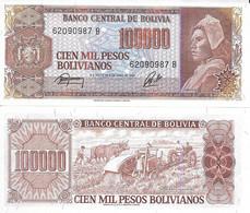 Bolivia P171, 100,000 Boliviano, Peasant Woman / Field Work, Oxen, Tractor UNC - Bolivia