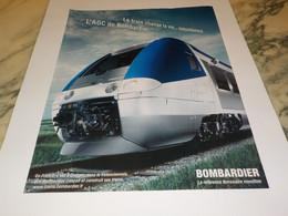 ANCIENNE PUBLICITE  AGC BOMBARDIER  2007 - Railway