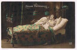 """H195 WWI Patriotique """"DOUCE PERMISSION"""" COUPLE SOLDAT LIT LAMPE PHOTO D'ART - Couples"""