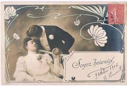 H196 ART NOUVEAU COUPLE BAISER KISS FLEURS PHOTO D'ART - Couples
