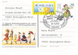 Germany Upfranked Postal Stationary 1994 Für Die Jugend W/print Najubria 94 Posted Semmatal-Cranzahl 2002 - Trenes