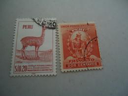 PERU  USED  STAMPS    ANIMALS    UNION POSTAL - Perú