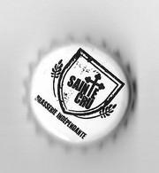 BIERE CAPSULE  - BRASSERIE INDEPENDANTE SAINTE CRU A COLMAR HAUT RHIN, UNE CROIX, HOUBLONS, VOIR LE SCANNER - Beer