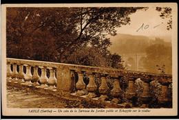 CPA SARTHE SABLE UN COIN DE LA TERRASSE DU JARDIN PUBLIC ET ECHAPPEE SUR LE VIADUC 1948 C.LAMBERT PHOT EDIT SABLE SUR SA - Sable Sur Sarthe