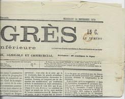 N° 52 TYPO SUR JOURNAL COMPLET PROGRES MERCREDI 24 NOVEMBRE 1875 - 1871-1875 Ceres