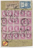 MAZELIN 1FR50 ROSE BLOC 20+ N°757+770  GRAND FRAGMENT REC PARIS RP 1947 - 1945-47 Ceres Of Mazelin