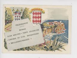 """Monaco Principauté, Télégramme """"bien Arrivés..."""" Vue Sur Le Casino Monté-Carlo Et Rocher, éd Prioris Illustrateur Blason - Altri"""