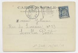 SAGE 15C CARTE PETIT DRAPEAU OMBRE PARIS DEPART 13 DEC 1898 1ER JOUR OBLITERATION - Oblitérations Mécaniques (flammes)