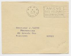 LETTRE MECANIQUE SECAP AMIENS SES VELOURS SA CONFECTION P.P. 9.12.1953 AMIENS R.P. - Mechanical Postmarks (Advertisement)