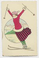 JEUX OLYMPIQUES PARIS 1924 OLYMPIADES CARTE COULEURS SAUTEUSE A SKI RARE - Olympic Games