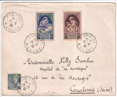15 JUIN 1939 - SERIE COMPLETE YVERT N°440/441 NATALITE CACHET FDC ! Sur ENVELOPPE De PARIS => COURBEVOIE - ....-1949