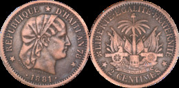Haiti - 1881 - 2 Centimes - An 78 De La République D'Haiti - Graveur : Roty - L006(RDE) - Other - America