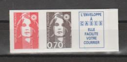 FRANCE / 1993 / Y&T N° 2824b ** Ou AA 5b ** : Briat Adhésif 70 C Brun + TVP LP (bords Droits) X 1 - KlebeBriefmarken