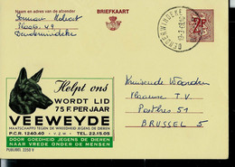 Publibel Obl. N° 2250 ( Faites-vous Membre Du VEEWEYDE- Tête De Chien - Dog) Obl. DENDERWINDEKE 19/03/68 - Publibels