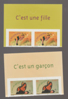 FRANCE / 2004 / Y&T N° 3634/3635 ** Ou AA 40/41 ** : Naissance (fille & Garçon Adhésifs) X 2 Paires = Hauts Des Carnet - KlebeBriefmarken