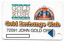 Uncle Sam's / Gold Rush & Gold Diggers Casinos, Creeple Creek CO, U.S.A.,  Older Used Slot Or Players Card, # Goldrush-1 - Casinokarten